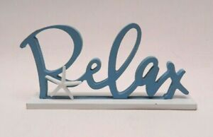 "Wooden Word Sign ""Relax"" Desk/Table/Shelf/Home Wall/Office Decor Art Vacation"