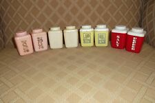 4 Sets of Vintage Lustroware Plastic Salt Pepper Shaker Retro-Red-Yellow-Pink-W