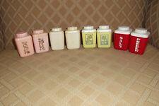 4 Sets of Vintage Lustroware Plastic Salt Pepper Shaker Retro-Red-Yellow-Pink-W