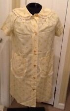Vintage Yellow Rose Floral Granny Housecoat Robe Size Small Lace Collar