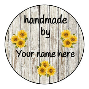 """Personalized """"Handmade by"""" labels, stickers, tags with wood and sunflowers"""