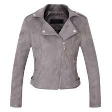 Women's Stylish Notched Collar Oblique Zip Suede Leather Moto Jacket GREY S