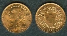 1947 SWISS  Switzerland Helvetia 20 Franc 22K Yellow GOLD Coin. UNC