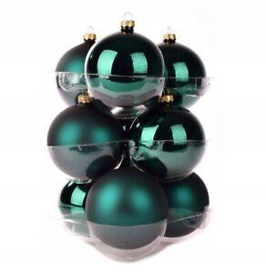 Set 8cm x 9pcs Handmade Bottle Green Mix Mat Enamel Glass Baubles Christmas Tree