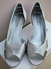 "Roland Cartier Silver Satin Peep Toe 2.5"" Heel SHOES Size 37/4 BNWT"