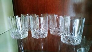 Vintage good quality lead crystal whisky glasses x 6. 8 cms