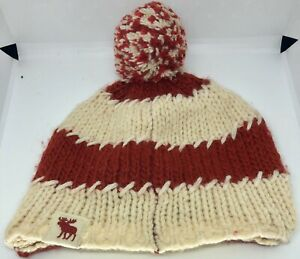 Abercrombie Knit Hat Brimmed Beanie Red & White Moose Logo Cotton Wool Blend