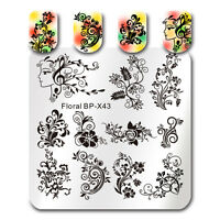 Square Nail Art Stamping Template Flower Vine Leaves Image Plate DIY Born Pretty