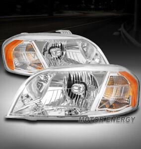 FOR 07-11 CHEVY AVEO/09 PONTIAC G3 SEDAN HEADLIGHTS LAMPS CHROME LEFT+RIGHT PAIR