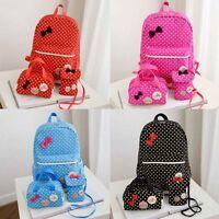 3pcs/set School Bags Girls Polka Dots School Backpack Pencil Case For Children