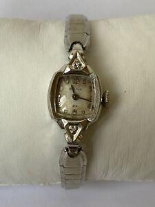 Vintage BULOVA 23 10K RGP (M3) 2-Diamond Women's Wristwatch
