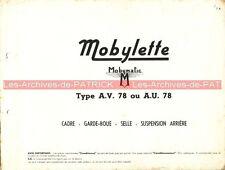 MOTOBECANE MOBYLETTE AV 78 AU 78 : Feuilles isolées (pièces détachées) MOBYMATIC