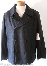 NWT Calvin Klein Mens Double Breasted Wool Blend Pea Coat L Black/Grey MSRP$220