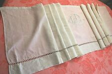 Valance from Antique French Embroidered Pure Linen Monogram LD Panel White