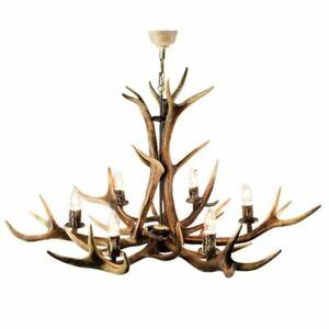 Lustre avec vrai bois de cerf. Corne. Lampe: 6xE14 M: 95x95x90cm 1542