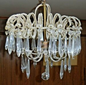 "DUSTY Italian Hanging Bead & Prism Light / Chandelier - 13"" Diameter"