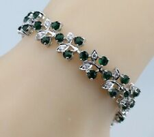 "Green Emerald  and Topaz Gemstones  Flower 925 Silver Bracelet Bangle 7.5"" Long"