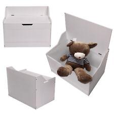 Wooden Storage Box White MDF Toy  Storage Games Organiser Unit Bedroom Furniture