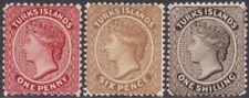 FULL SET Turks Islands 1887-89 Definitive 1d, 6d & 1s MNH & MH Stamps SG58-SG60