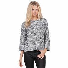 2016 NWT WOMENS VOLCOM SOMETHING GOOD CREW SWEATER $60 S black cropped relaxed
