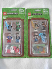 LEGO MINECRAFT SKIN PACK 1 & 2 MINIFIGURE SETS 853609 853610 NEW SEALED 2016
