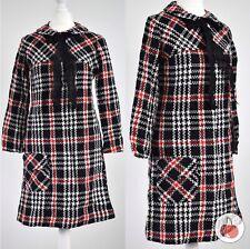 BLACK CHECK, PUSSY BOW 1960s VINTAGE MOD GOGO MINI DRESS 8-10