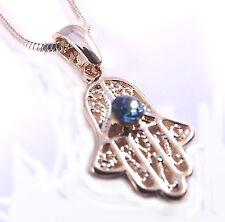 Collana Pendente Kabbalah Hamsa Portafortuna Malocchio Mano di Fatima Amuleto Gold Charm