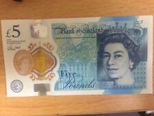 New rare collectable plastic polymer Bank of England £5 five pound note AA08