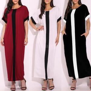 Women Short Sleeve Casual Loose Long Dress Contrast Panel Maxi Dresses Plus Size