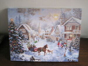 Christmas LED Light up canvas Pictures Christmas scenes batteries not supplied