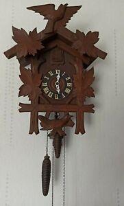 "17"" Antique Large Black Forest Cuckoo Clock Carved Wood"