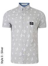 Crosshatch Men's New Slim Fit Long & Short Sleeve Shirts Check Plain Pattern