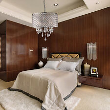 Modern 4 Light Crystal Chandelier Pendant Lighting Iron Ceiling Fixture Lamp