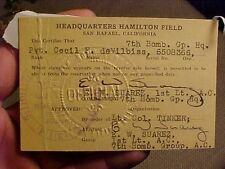 ORIGINAL PRE WWII 1930s US AIR CORPS 7TH BOMB GROUP PASS / ID HAMILTON FIELD CA