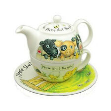 Roy Kirkham Tea for One Set  Please Shut The Gate Design Cow Sheep Pig Farm Gift