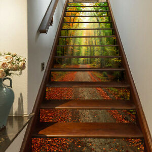 3D Sunshine Forest Leave Stair Riser Stickers Self-adhesive Stair Stickers Decor
