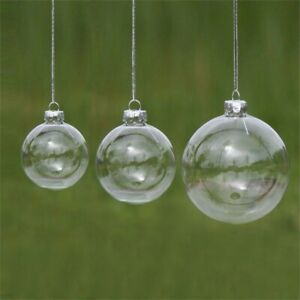 5pcs Clear Plastic Balls Christmas Baubles Fillable DIY for Party Tree Ornament