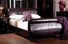 Sweet Dreams Mandarin Faux Leather Sleigh Bed Bedstead Super King Size 6FT 180cm