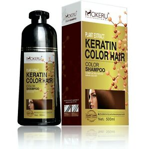 Mokeru Professional KERATIN Natural Permanent Instant Hair Dye Color Shampoo