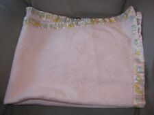 VINTAGE BABY GIRL BLANKET PINK FLEECED ACRYLIC SATIN TRIM BAND LION LAMB TRIBORO