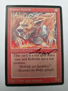 Crimson Kobolds Legends Ed Signed by Anson Maddocks Magic the Gathering
