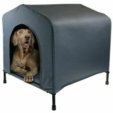 Paws & Claws 102x93cm Steel Frame Elevated Pet Large Dog House W/ Cushion Grey