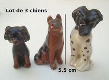 lot de 3 chiens en porcelaine , collection, vitrine, dog, hond, chien S1-H