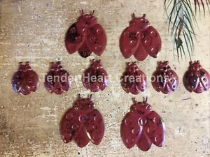 Set/10 Primitive Embossed Tin Ladybug Cutouts Garden Craft Supplies Decorations