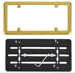 Universal License Plate Tag Holder Mount Bumper Bracket + Gold Frame CAR TRUCK