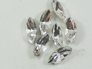 12pcs. 8x4mm CRYSTAL NAVETTE  FOILED POINTED  BACK swarovski rhinestone