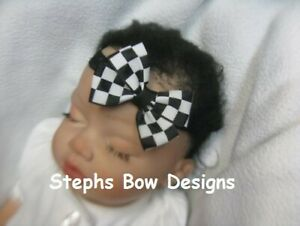 White Black Checkered Flag Hair Bow Headband 4 Preemie Newborn Toddler Nascar