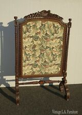 Vintage French Provincial Ornately Carved w Floral Tapestry Fireplace Screen