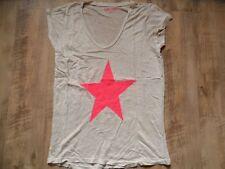 100 % LINO schönes Leinenshirt hellbeige pinker Stern Gr. M NEUw. KoS817