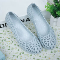 Women Casual Shoes Jelly Hollow Out Flat Heel Sandals Flip Flops Size Beach New